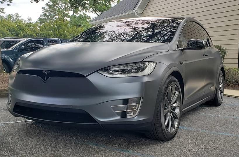Silver Tesla with new window tint